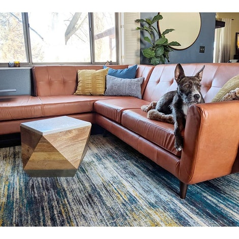 Hughes Leather Sectional With Bumper Joybird