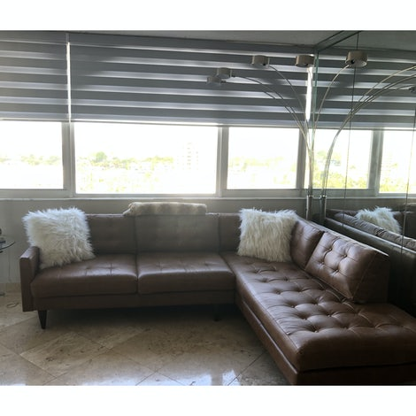 Eliot Leather Sectional with Bumper - Photo by Ron Rudolph
