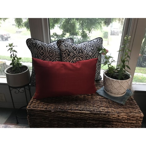 Mia Red Pillow - Photo by Stephanie Coplan