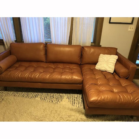 Briar Leather Sectional - Photo by Brooke Bray