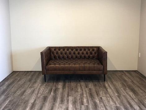 Vaughn Leather Apartment Sofa - Photo by Kristiana Almeida